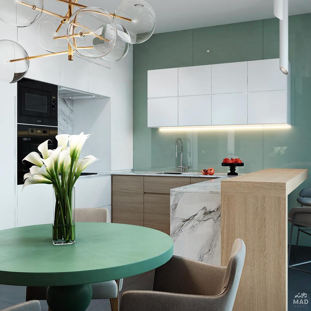 Авторский дизайн интерьера кухни в зелёном от MAD group
