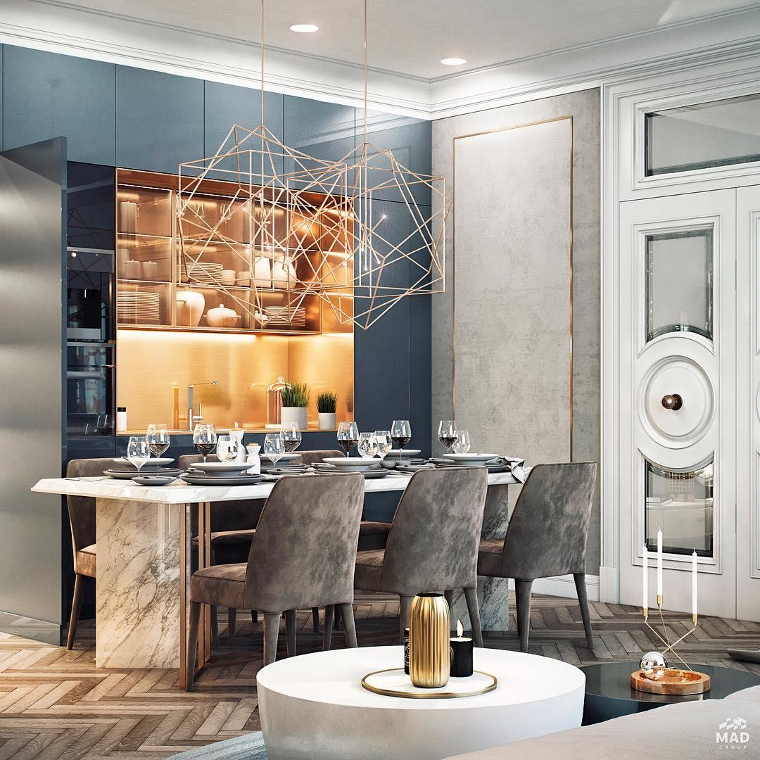 Авторский дизайн интерьера кухни в светлых тонах от MAD group
