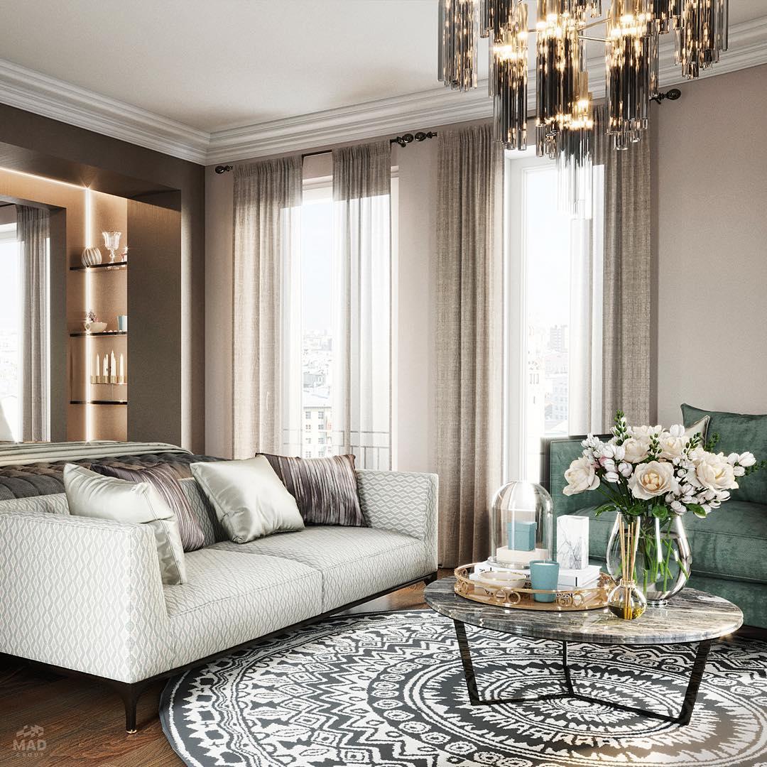 Авторский дизайн интерьера гостиной от MAD