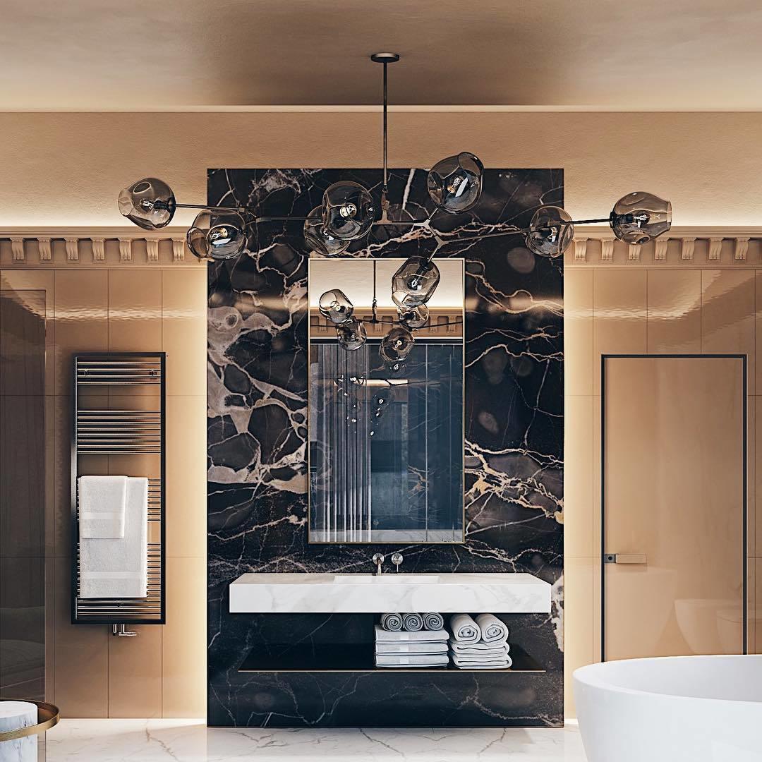 Авторский дизайн интерьера ванной комнаты от MAD group