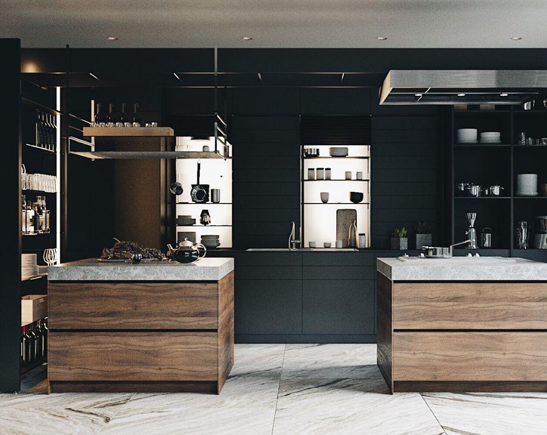 Авторский дизайн интерьера кухни в тёмных тонах от MAD group